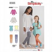 8566 Simplicity Pattern: Child's and Girls' Knit Tunics and Leggings